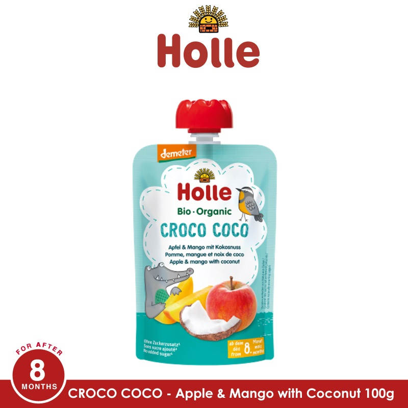 baby-fairHOLLE Croco Coco - Pouch Apple & Mango with Coconut 100G