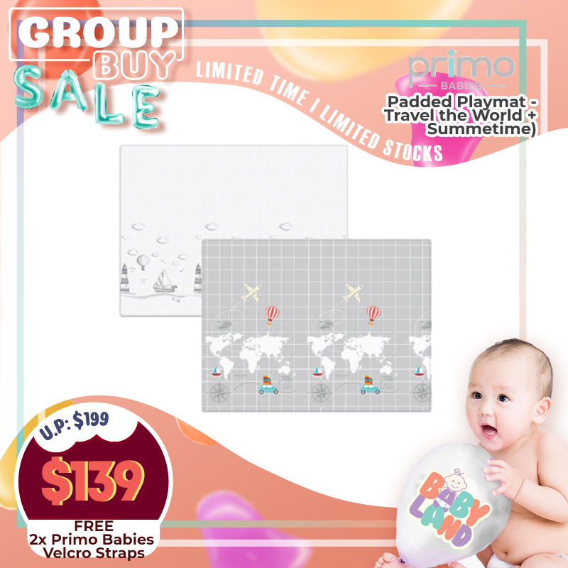 Primo Babies Padded Playmat - Travel the World + Summertime + Free 2x Primo Babies Velcro Straps
