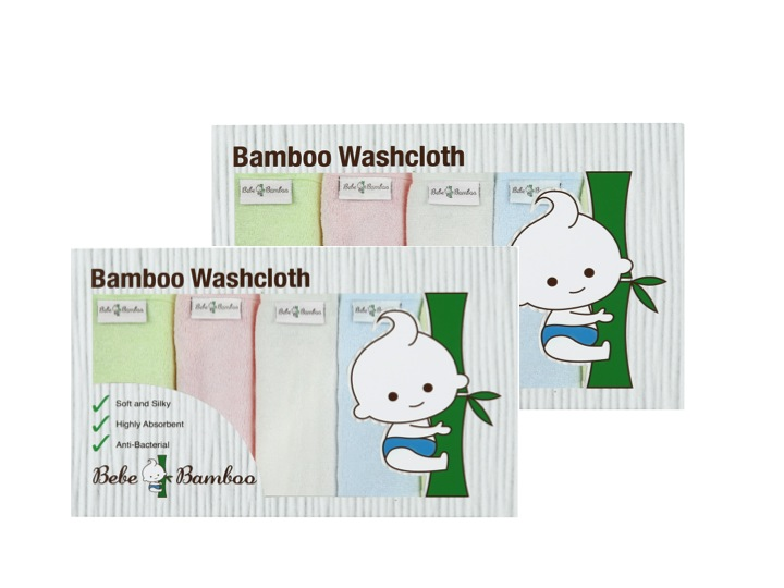 baby-fair Bebe Bamboo 100% Bamboo Washcloth 5pcs (Box of 2)