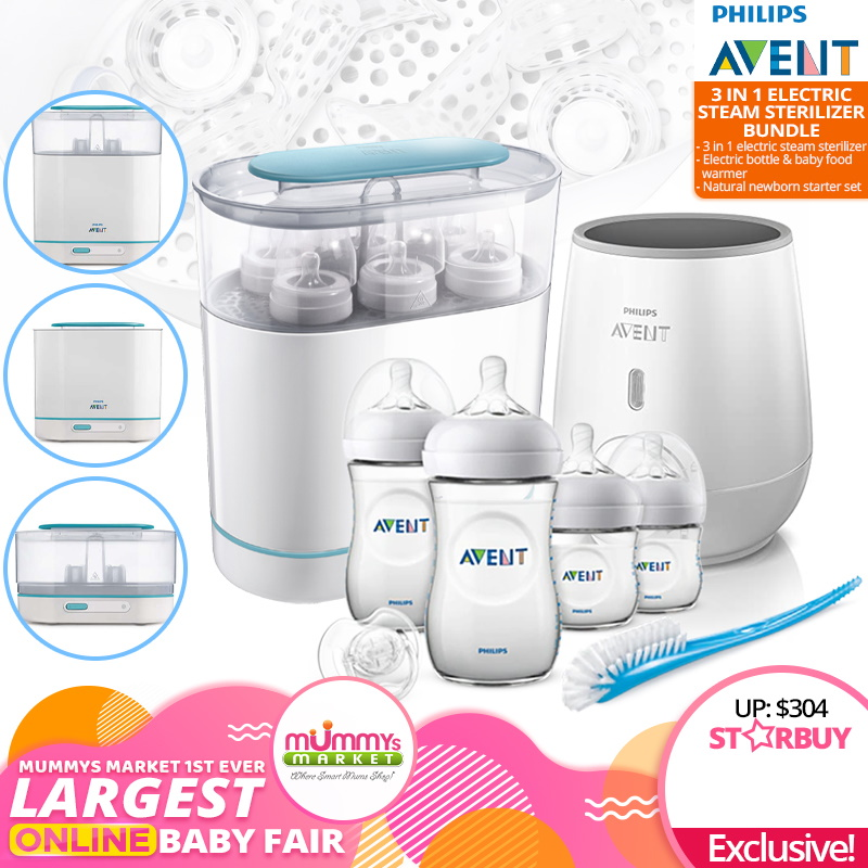 baby-fair(Coming Soon)Philips Avent 3-In-1 Electric Steam Sterilizer Bundle + Warmer + Newborn Starter Set