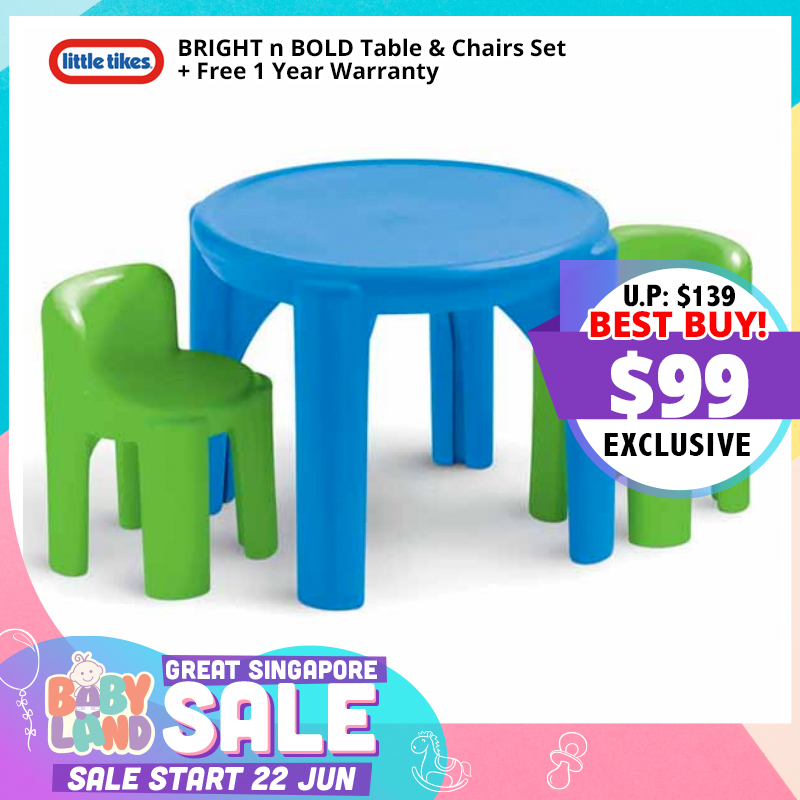 Little Tikes BRIGHT n BOLD Table & Chairs Set + Free 1 Year Warranty