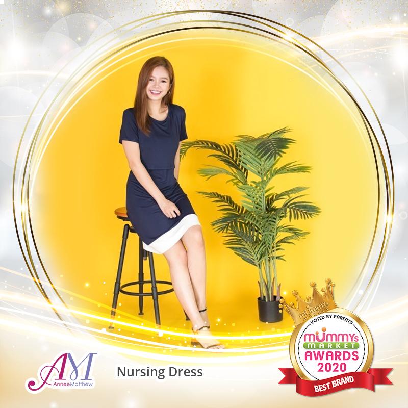 baby-fair AnneeMatthew Issa Pleated Nursing Dress - Navy