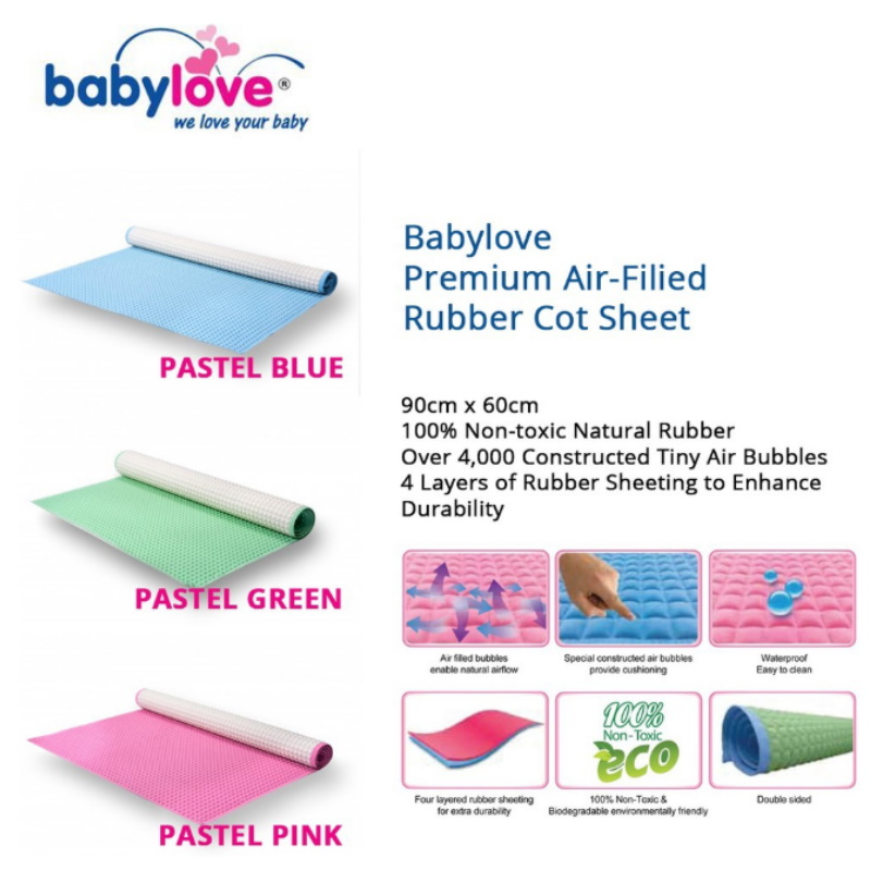 baby-fair Babylove Premium Air-Filled Rubber Cot Sheet - Large 60 x 90cm
