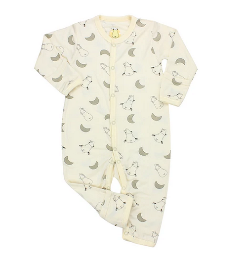 baby-fair Baa Baa Sheepz Romper with Snap / Middle Button - Small Moon & Sheepz / Yellow