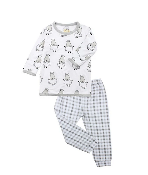 baby-fair Baa Baa Sheepz Long Sleeve Shirt & Long Pants Pyjamas Set - Big Sheepz / White + Checkers / Grey