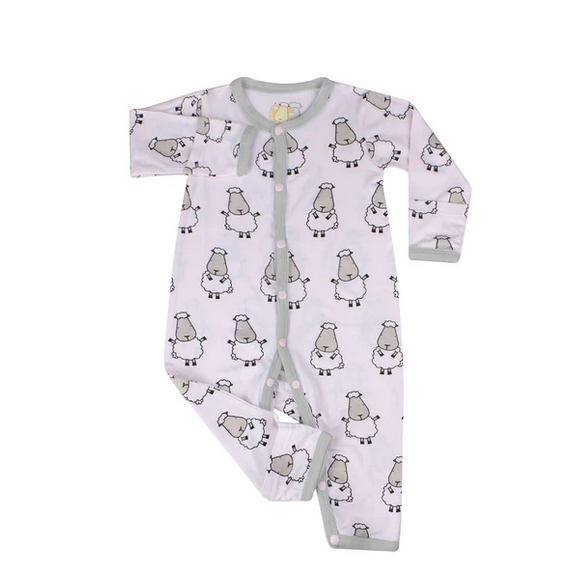 baby-fair Baa Baa Sheepz Romper with Snap / Middle Button - Big Sheepz / Pink