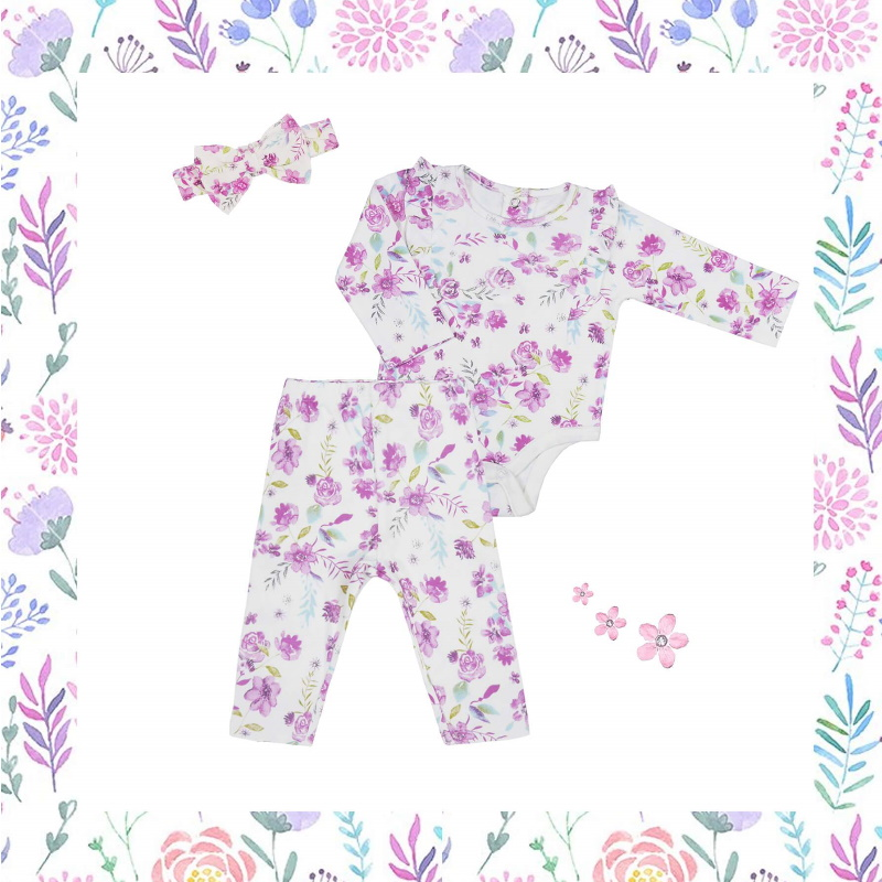 baby-fairLittleBBLove Bodysuit and Pants Set (Floral Love) with Headband