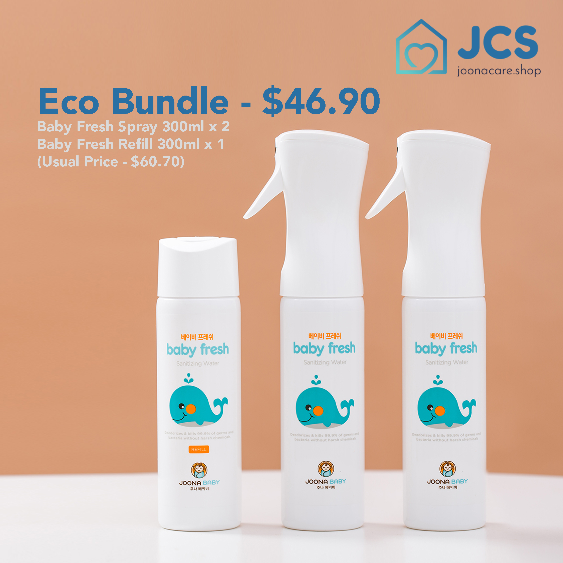 baby-fairJoona Baby Fresh Eco Bundle (Spray 300mlx2 + Refill 300mlx1)