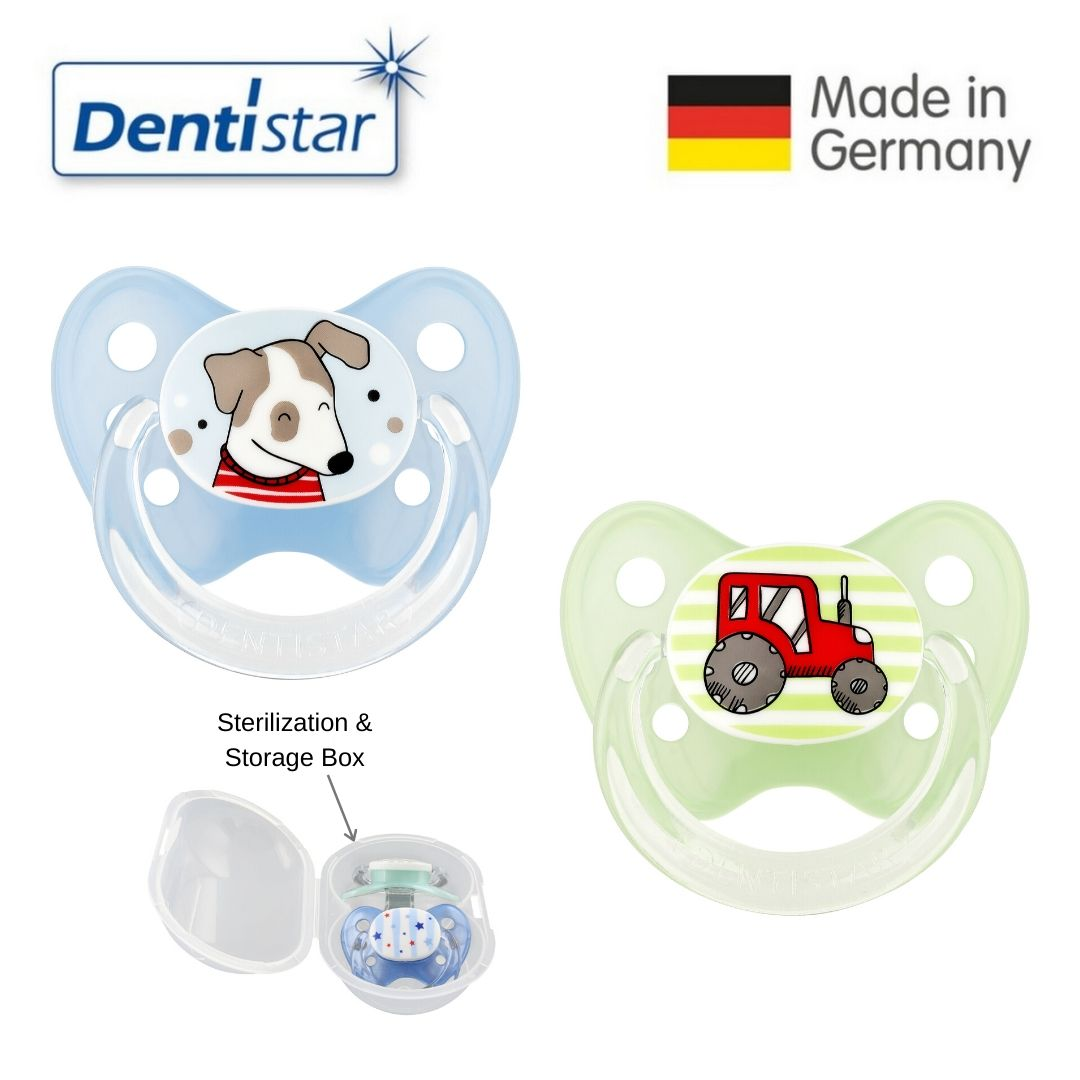 baby-fairDentistar Tooth-friendly Curve Pacifier Size 2 (Set of 2) with Sterilization Box