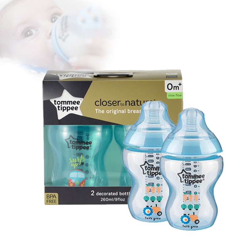 baby-fairTommee Tippee CTN BPA Free Tinted Bottle (260ml) Twin Pack (Blue / Pink / Green / Purple / Black)