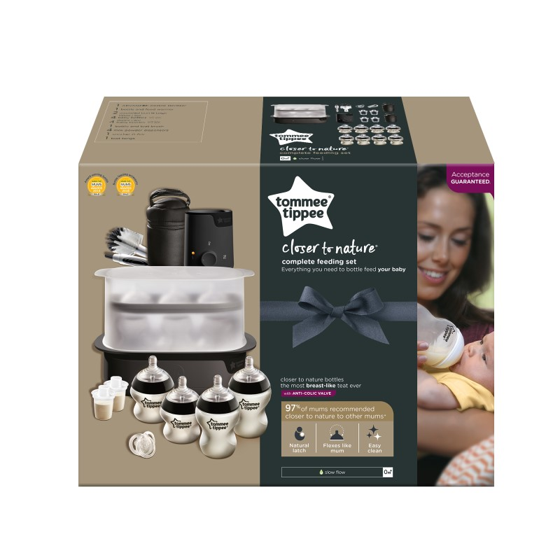 (EXCLUSIVE) Tommee Tippee Complete Feeding Set (Black - The Clash) Include Bottle Warmer + Bottles + Formula Dispensers + Soother + Teat Brush