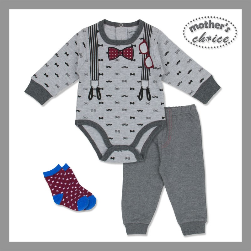 baby-fair 3 pc set of Bodysuit, Leggings and Socks - By Mother's Choice (Grey)