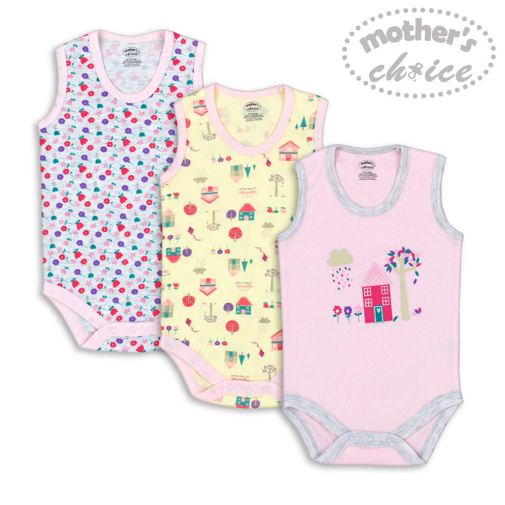 baby-fairMother's Choice 3 pcs pack Newborn Baby Infant Sleeveless Bodysuit and Romper (Pink House)
