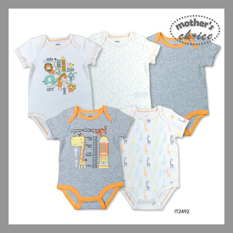baby-fairMothers Choice 5 Pcs Baby Short Sleeves Bodysuits (Grey Giraffe)