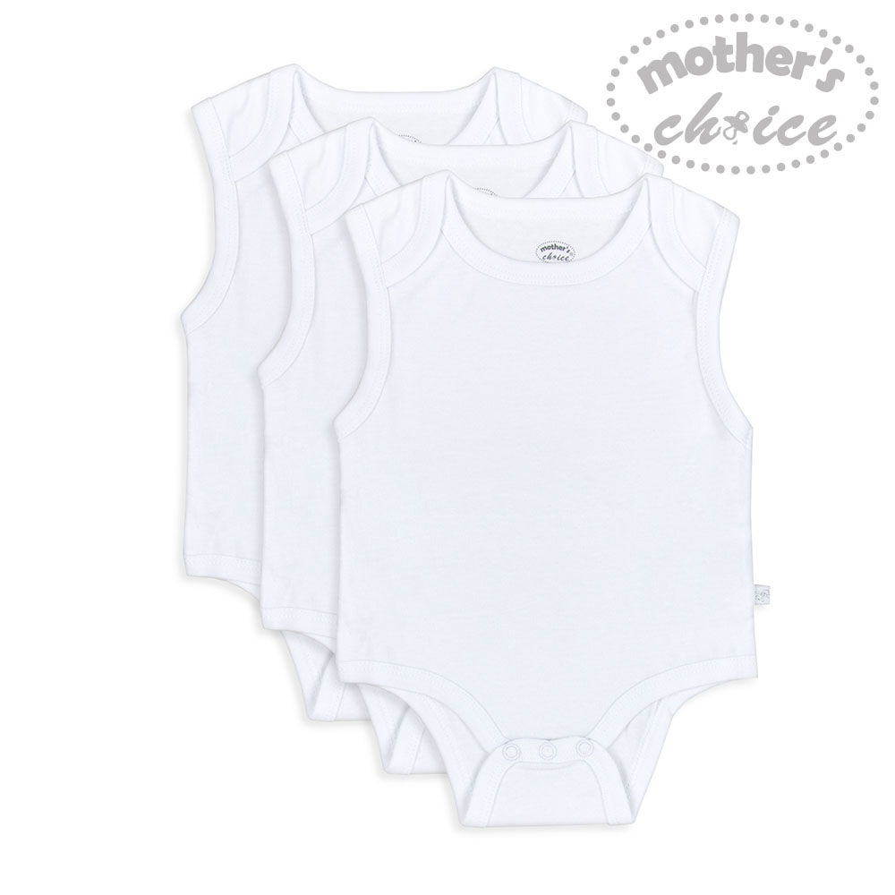 baby-fairMother's Choice Infant 100%  Cotton ALL-WHITE 3pcs Sleeveless Bodysuits and Rompers
