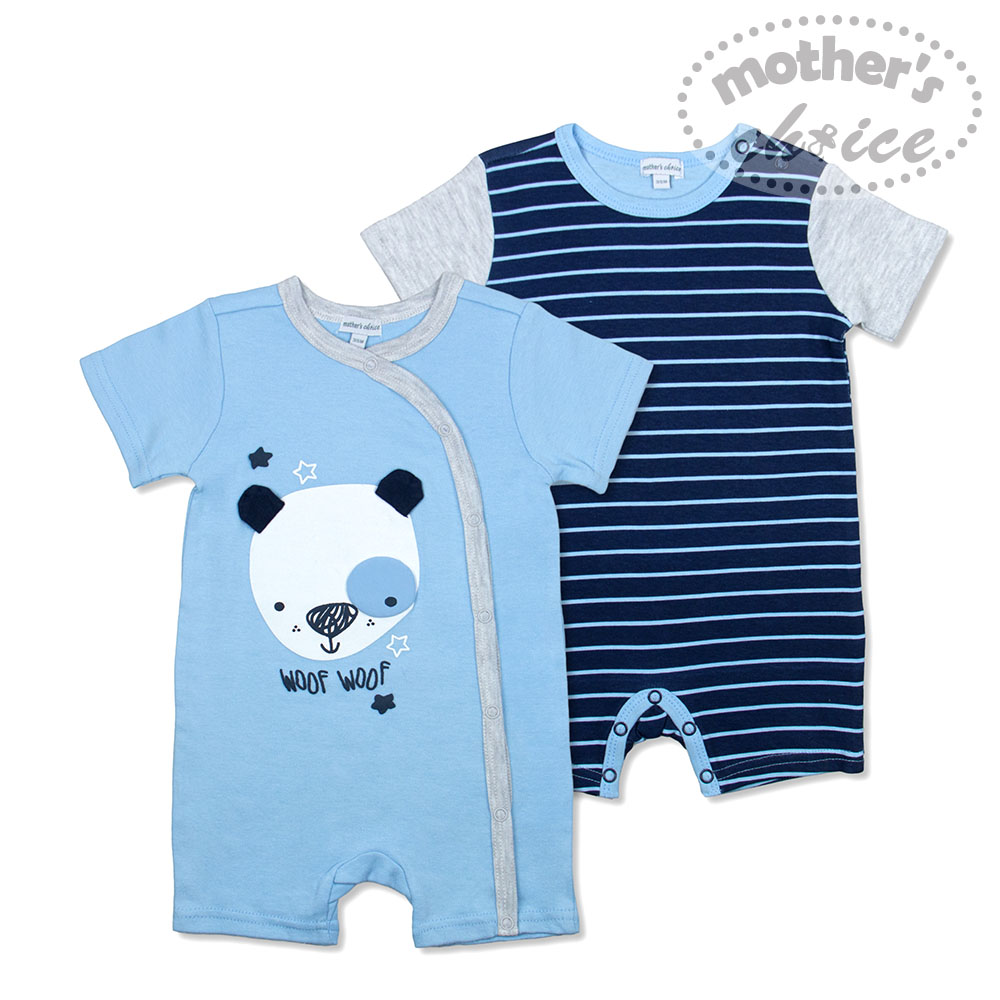baby-fairMother's Choice 100% Pure Cotton 2-Piece Pack Newborn Baby Infant Short Sleeves and Sleevesless Panda Bodysuit and Romper