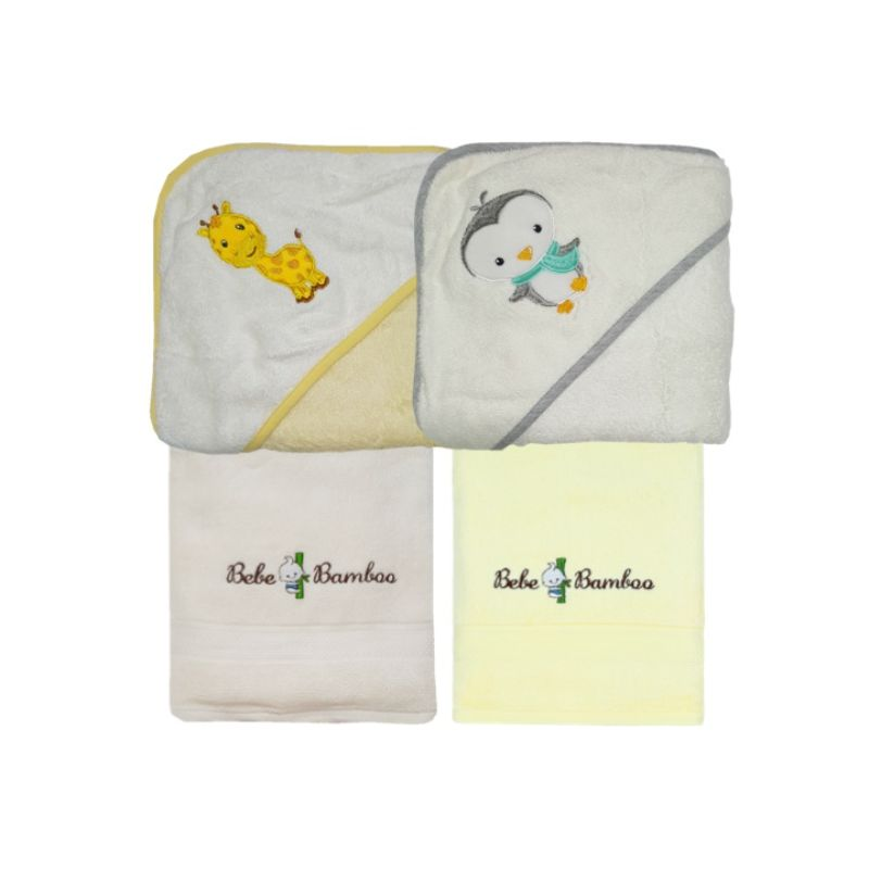 baby-fairAward Winning 100 Percent Bebe Bamboo Hooded Towels/Kids Bath Towel (Bundle of 4)