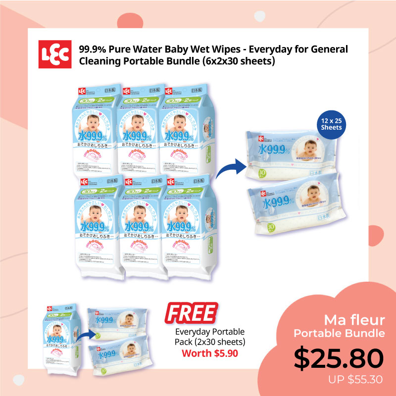 baby-fair LEC 99.9% Pure Water Blue Everyday Wet Wipes Portable Bundle (12 x 30s)