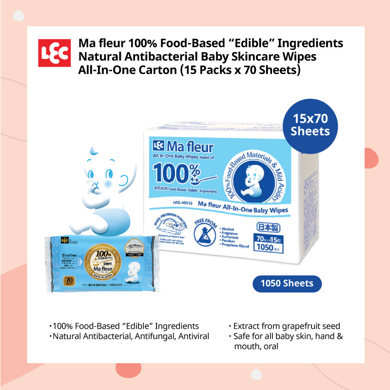 baby-fair LEC Ma Fleur Natural Antibacterial Baby Skincare Wipes - Blue All in One Carton (15 x 70s)
