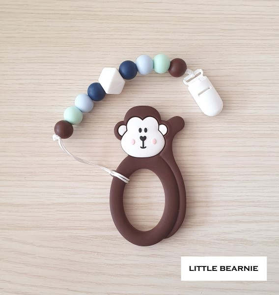 baby-fairLittle Bearnie Baby Teething Clip Set - Cheeky Monkey *Order ships every Tuesday