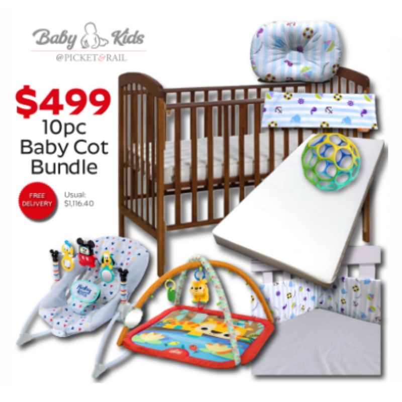 Baby Cot   Picket & Rail Baby and Kids Cot 10pcs Bundle (Baby Cot + Mattress + Bumper + Fitted Bedsheet + Bean Bag + Cover + Dimple Pillow + Disney Mickey Mouse Rocker +  Bright Starts Lion Baby Activity Gym +Oball Easy Grasp Ball)