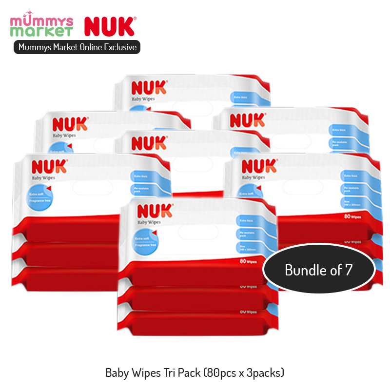 baby-fair NUK *ONLINE EXCLUSIVE* Carton Deal - 80s Baby Wipes Triple Pack (7packs/carton)