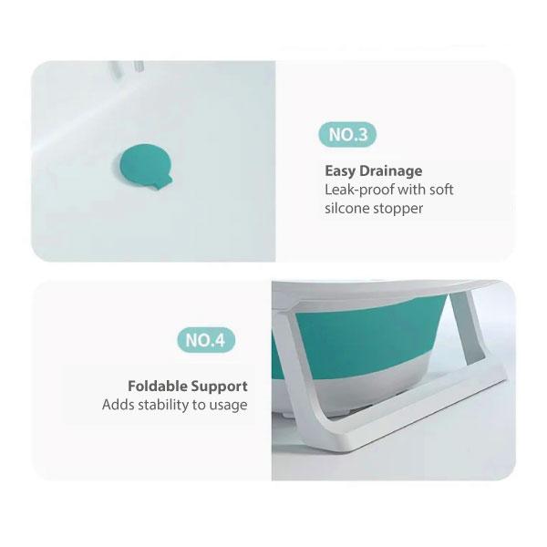 IGLEYS Foldable Bathtub with Digital Thermometer