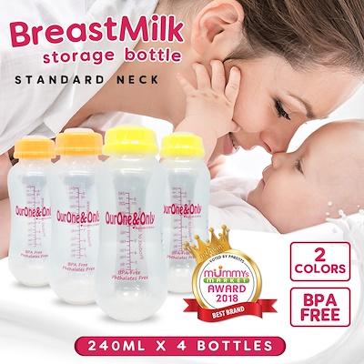 baby-fairOurOne&Only 240ml Standard Neck Storage Bottles (4pcs)