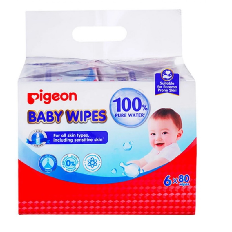 baby-fair Pigeon Baby Wipes 80 Sheets Water Base, 6 In 1 Bag (PG-78100)