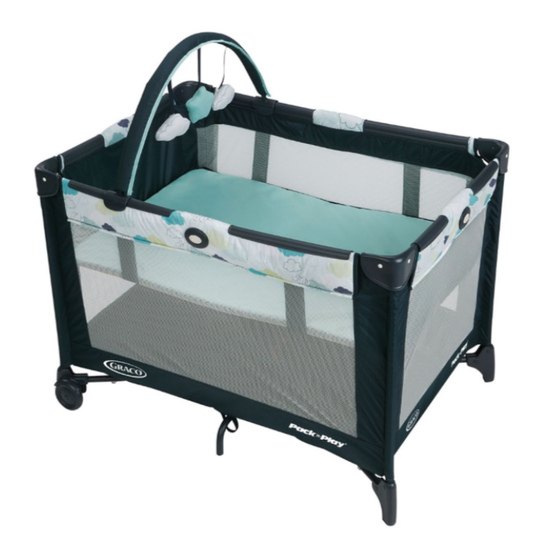 baby-fair Graco Pack N Play On The Go Playard with Bassinet (Stratus) + FREE 2 inch Foam Mattress & Graco Pack N Play Quilted Fitted Sheet (Stone Grey)