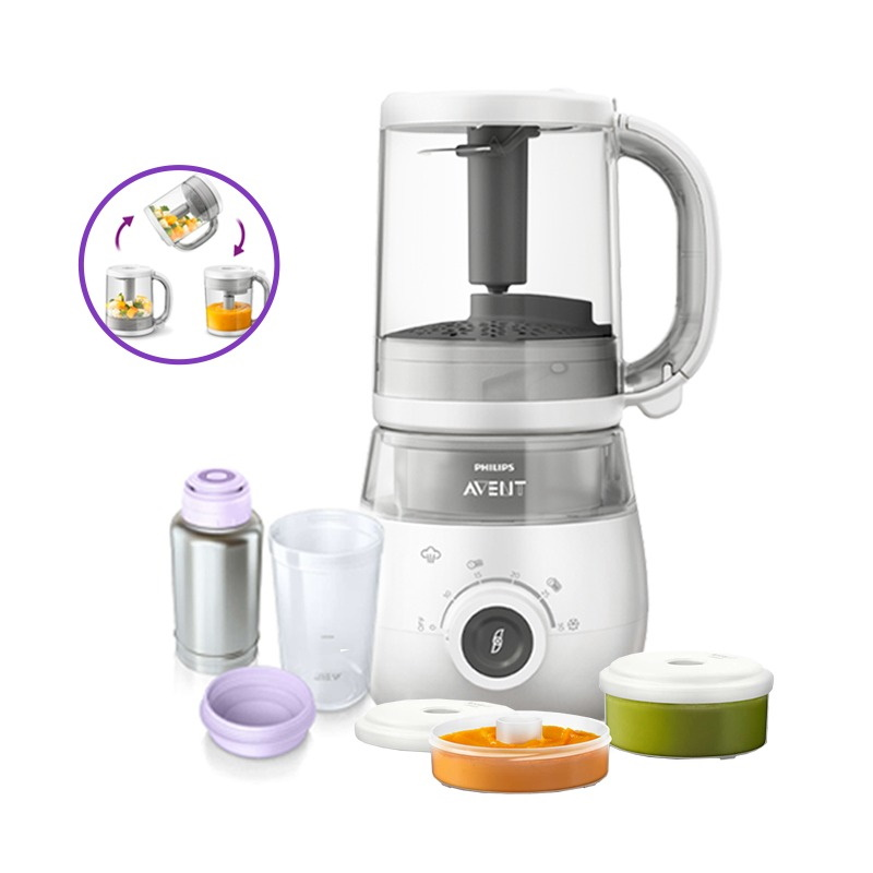 Philips Avent 4-in-1 Healthy Baby Food Processor Bundle (Steamer Blender + Thermo Flash Bottle Warmer + Storage Pots)