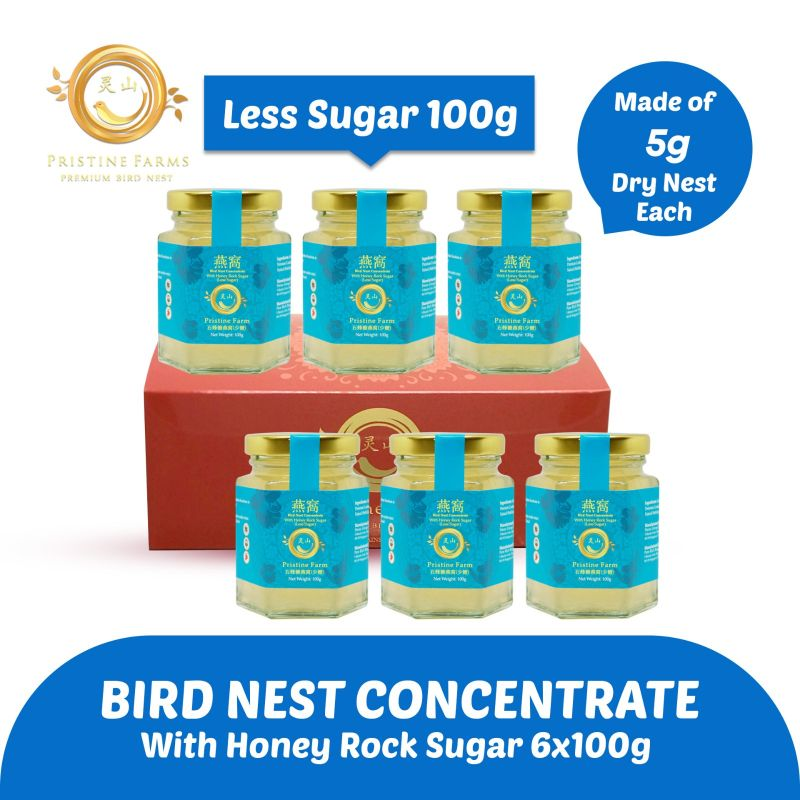 baby-fair Pristine Farm Bird Nest Concentrate (Less Sugar) with 5g of Dry Nest - Bundle of 6 x 100g