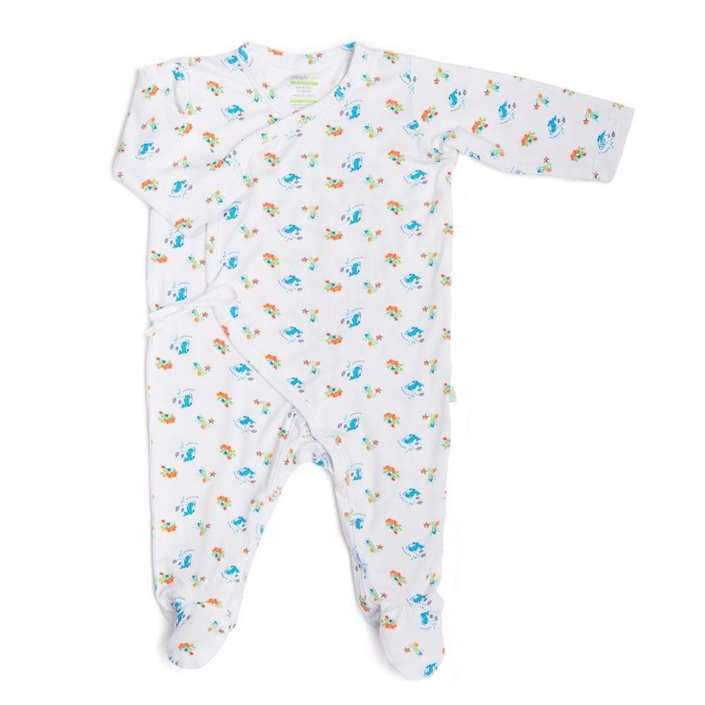 baby-fair Simply Life Bamboo Sleepsuit Long-sleeved with footie Kimono Under the Sea (Various Sizes Avail)