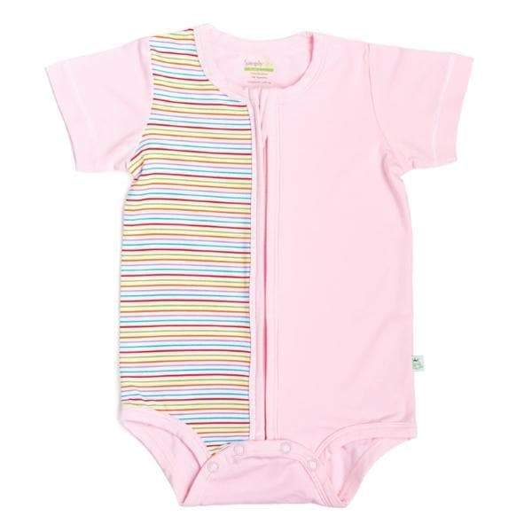 baby-fairSimply Life Bamboo Short-sleeved creeper with zipper - Pink Strips (Various Sizes Available)
