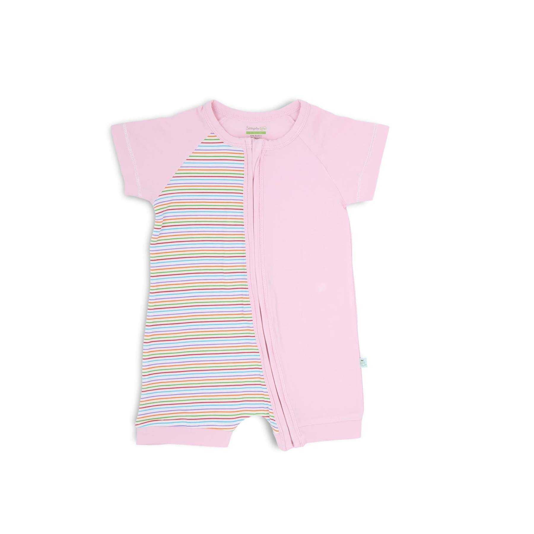 Simply Life Bamboo Short-sleeved shortall with zipper - Pink Strips(Various Sizes Available)