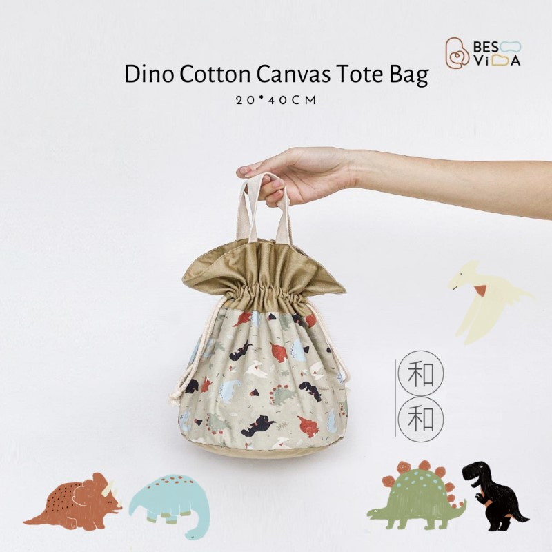 baby-fair Besovida Dino Cotton Canvas Hand Bag Tote Bag Meal Bag Lunch Bag (Dinosaur / Brown)