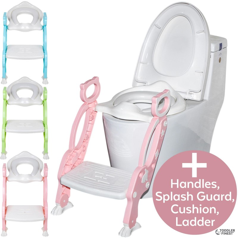 baby-fair2-in-1 Potty Training Seat with Step Stool Ladder - Adjustable Toddler Toilet Training Seat - Soft Anti-Cold Padded Seat - Non-Slip Urinal Pad, Splash Guard, Safe Handle - Portable Easy Clean - For Kids Baby Boy Girl (ToddlerFinest)