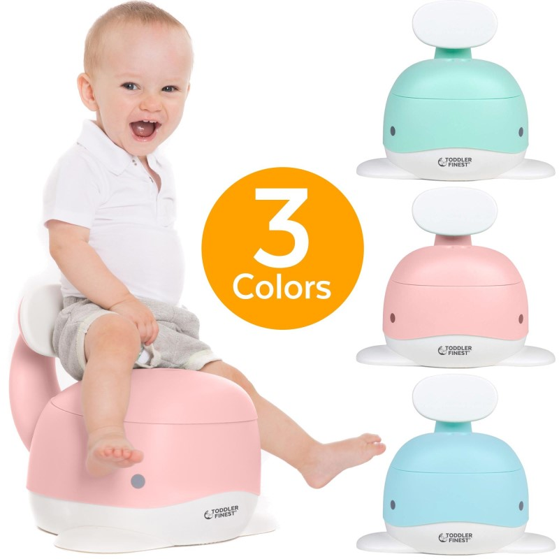 baby-fair3-in-1 Whale Potty Training Seat - Portable Toddler Toilet Chair Step Stool - Smart Urinal Pot with Backrest Splash Guard Removable Lid & Bowl - Safe Durable Ergonomic Non-Slip Easy Clean - For Kids Child Boys Girls (ToddlerFinest)