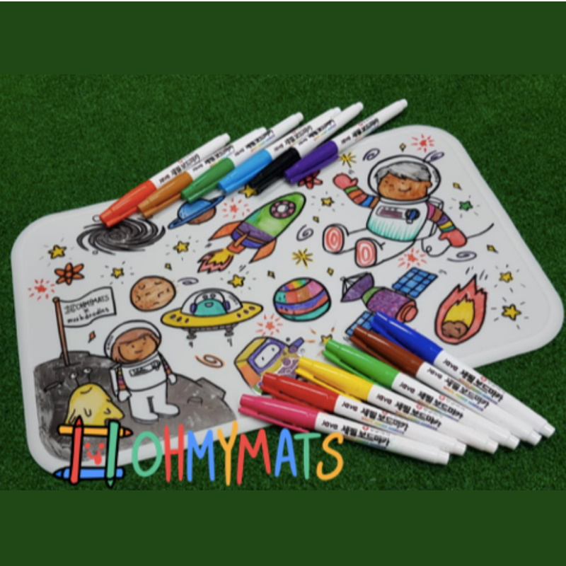 #ohmymats - Small (Mat + Fine Tip Marker) Resuable Colouring & Dining Place Mat (KOREA)