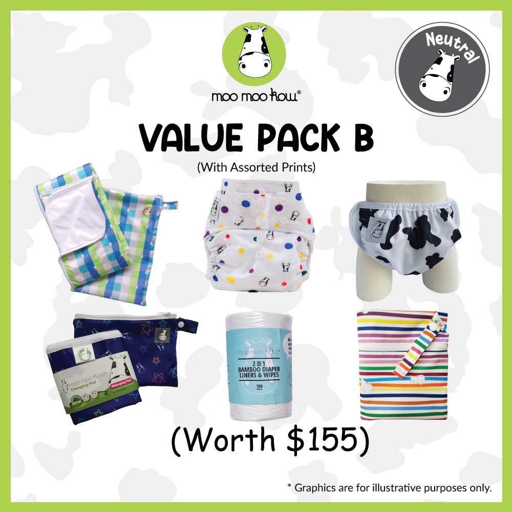 baby-fair Moo Moo Kow Value Pack B - Reusable Cloth Diapers