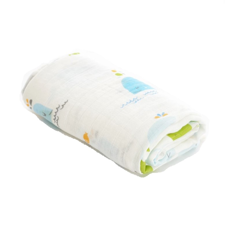 baby-fair Mimosa Bamboo & Organic Cotton Luxury Swaddle / Multi-purpose Bamboo Muslin Swaddle (Dolphin II)