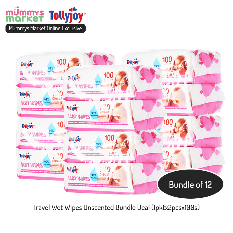 baby-fair Tollyjoy Wet Wipes Scented/Unscented Carton Deal (12pktx2pcsx100s)