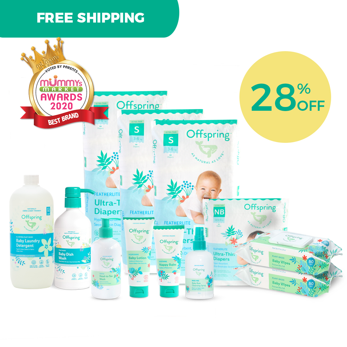 baby-fairOffspring Ultimate Ultra-thin Newborn Bundle (Diapers,wipes,lotion,nappy balm,bodywash and MORE)
