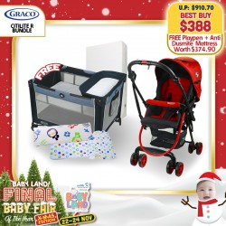 baby-fairGraco Citilite R Stroller (Red Poppy) + Puku Multi Cushion Seat + Bean Pillow + Free Pack N Play Simple Solutions Playpen (Hadlee) + Anti Dustmite Foam Mattress