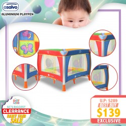 baby-fairAsalvo Aluminium Playpen (GARDEN) FREE 6 Months Warranty *ADDITIONAL $10 OFF with SAVE MORE COUPON!!
